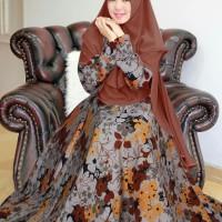 Gamis Monalisa - Syari Ivory Coklat Plus Hijab Best Quality