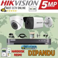 Paket CCTV Hikvision 2 High Res Kamera Mudah Instalasi Pasang Dipandu