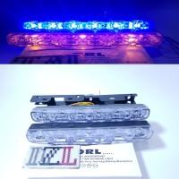 LAMPU LED DRL SENJA GRILL & SEN SEIN MOBIL 2 WARNA 6 LED BIRU KUNING