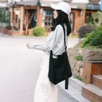 Tote Bag New Korea Solid Color Totebag Canvas buckled Fashion Wanita