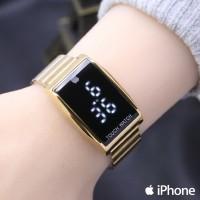 Jam Tangan Pria / Wanita iphone LED SK298 Rantai Gold