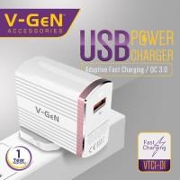 Travel Charger 1 USB Port QC 3.0 Fast Charging V-GeN | Adaptor VGEN