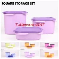 Set Toples Kotak Isi 3 / Wadah Kue Lebaran / Square Set Tulipware