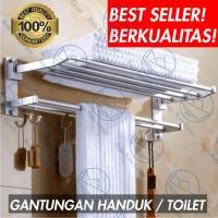 Rak Dinding Kamar Mandi Gantungan Handuk Baju WC Toilet Serbaguna S543