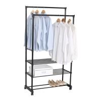 Gantungan baju Double Garment Rack With 3 Layers YJ3090B - Black