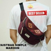 waistbag simpel pria original/ tas selempang waistpack maroon