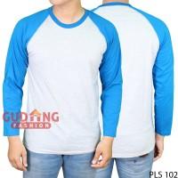 PLS 102 Kaos Raglan Panjang Pria Polos Cotton Combed Putih Misty Biru