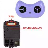 Receiver mobil/motor mainan aki + Remote Control Bluetooth 6v ungu