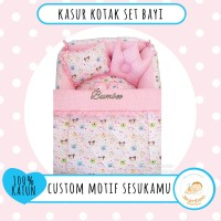 NEW Kasur Kotak Set Crown Bumbee Custom Motif PreOrder + Topi