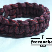 GELANG PARACORD/PARACORD BRACELET SURVIVAL STYLE COBRA KNOT RED LIGHT