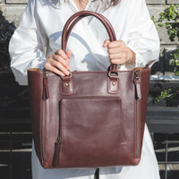 Gammara Leather Tote Bag - Domba (Dark Brown) 7fbfd88e44