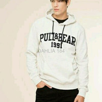 PROMO hoodie jumper zipper pull and bear 1991 putih jaket terlaris