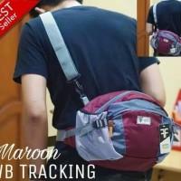 waistbag pria distro / tas selempang original best seller maroon