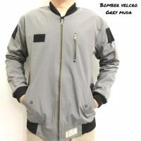 jaket pria taslan original waterproof anti air warna abu muda