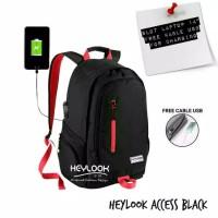 TAS BACKPACK RANSEL HEYLOOK USB CABLE UNISEX PRIA WANITA