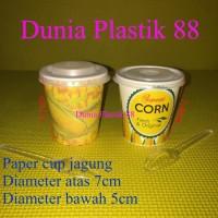 @50SET PAKET JASUKE gelas kertas paper cup 6,5oz+ tutup +sendok jagung