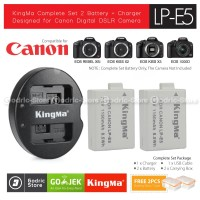 KingMa Paket Complete Battery Charger Set LP-E5 Canon 500D 1000D etc