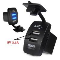 Cas Hp Di Mobil Motor USB Charger 2 Port DC 12-24V 3.1A Canggih Murah