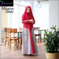Baju Gamis Branded Moana Bahan Toyobo Premium Warna Grey - GHS