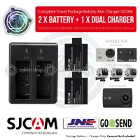 Dual Charger+Baterai/battery u/ SJCAM SJ4000/SJ5000 + Brica Bpro