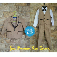 jas new brown 8in1 USIA 1 - 10 TAHUN tuxedo setelan anak coklat