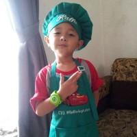 Celemek Anak Amp Topi Hijau Toska