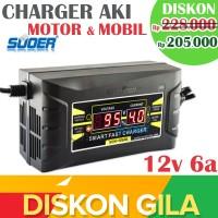 Charger Aki Digital 12V 6A, Smart Cas Aki Batere Mobil Motor Cepat