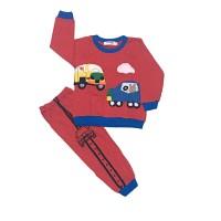 0-11 tahun baju tidur anak bahan kaos motif transport lengan panjang