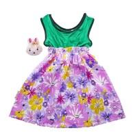 0-7 tahun dress anak bahan katun premium tanpa lengan + bros