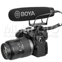 BOYA BY-BM2021 cardioid shotgun video microphone on shoe tanpa batre