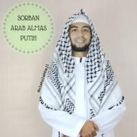 Sorban Arab Almas Putih/Sorban Surban Haji/Keffiyeh, Sorban, Shemagh