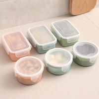 Kotak makanan bekal plastik 1 set Kotak dan bulat T030