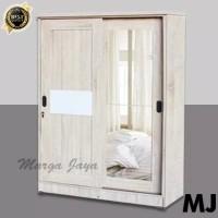 lemari pakaian 2 pintu sliding kayu partikel