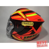 HELM INK DYNAMIC MOTIF #1 RED FLUO YELLOW FLUO HALF FACE