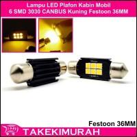 Lampu LED Plafon Kabin Mobil 6 SMD 3030 CANBUS Festoon 36MM Kuning