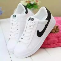 Sepatu/Sneaker/Kets NK Putih List Hitam Wanita/Cewek/Perempuan/Murah