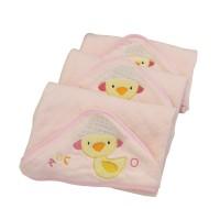 Handuk Bayi Duck Hooded 6001 Cotton - Pink 83 x 83 Cm