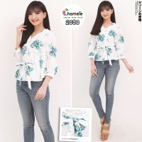CHAMELE - BIG FLOWER BLOUSE WANITA GOOD QUALITY BALOTELLI BUSUI 2090
