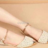Paling Laku Sendal / Sandal / Flat Shoes / Shoe Rantai Brukat Cream