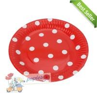 Piring Kertas Polkadot merah / Piring Kue Ulang Tahun / Paper Plate