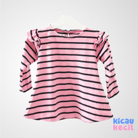 Lovebird Ruffled Sleeve Top – Pink Stripes - blouse anak