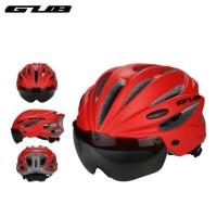 Gub K80 Plus Bicycle Helmet - Helm Sepeda Magnet Lensa Visor - Merah