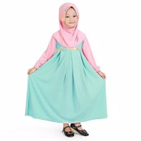 Baju Muslim Gamis Anak Perempuan || Warna Mint Peach
