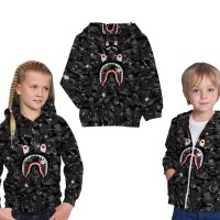 Jaket Hoodie Anak Unisex SPACE A BATHING APE BAPE SHARK Printed