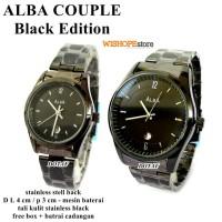 jam Tanggal Pasangan Stainless Alb Black