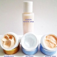 PAKET 4 CREAM WHITE PEMUTIH 3 HARI DNA(CREAM,NUTRISI,SABUN,SUNBLOCK)