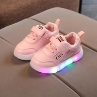 Sepatu LED FILA Warna Pink Sepatu Kets Anak Perempuan Impor Sepau Anak