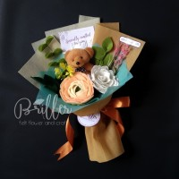 Buket Bunga Flanel/Buket Wisuda/Ultah Size XS+ Bisa Custom Bunga&Warna