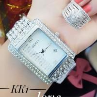jam tangan wanita plus cincin lapis emas putoh 24k 0531