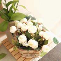 Pot Vase Rotan Bunga Mawar Palsu Artificial Tiruan Dekorasi Rumah vas